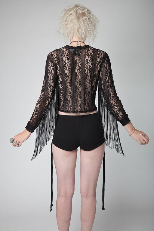 Freda Fringe Top | KUCOON | fringe sleeve long sleeve lace top. Made in Los Angeles