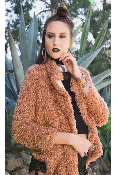 Faux Fur Luxe Jacket | KUCOON | copper burnt orange faux fur long cardigan jacket with pockets. Made in Los Angeles