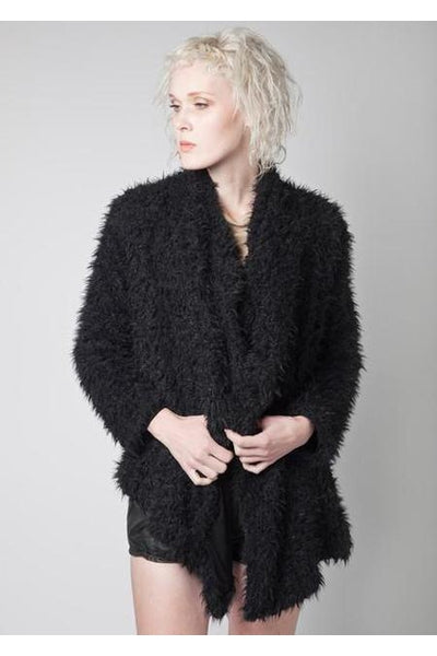 Luxe Jacket | KUCOON | Faux fur long haired soft cardigan jacket with pockets on sides. Made in Los Angeles