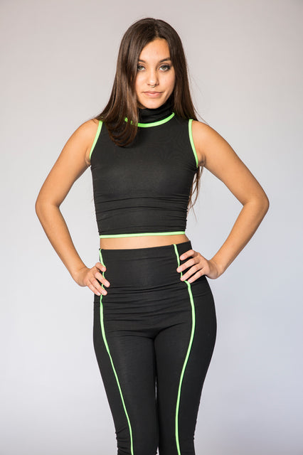 High Neck Black Lycra Neon Trim Top