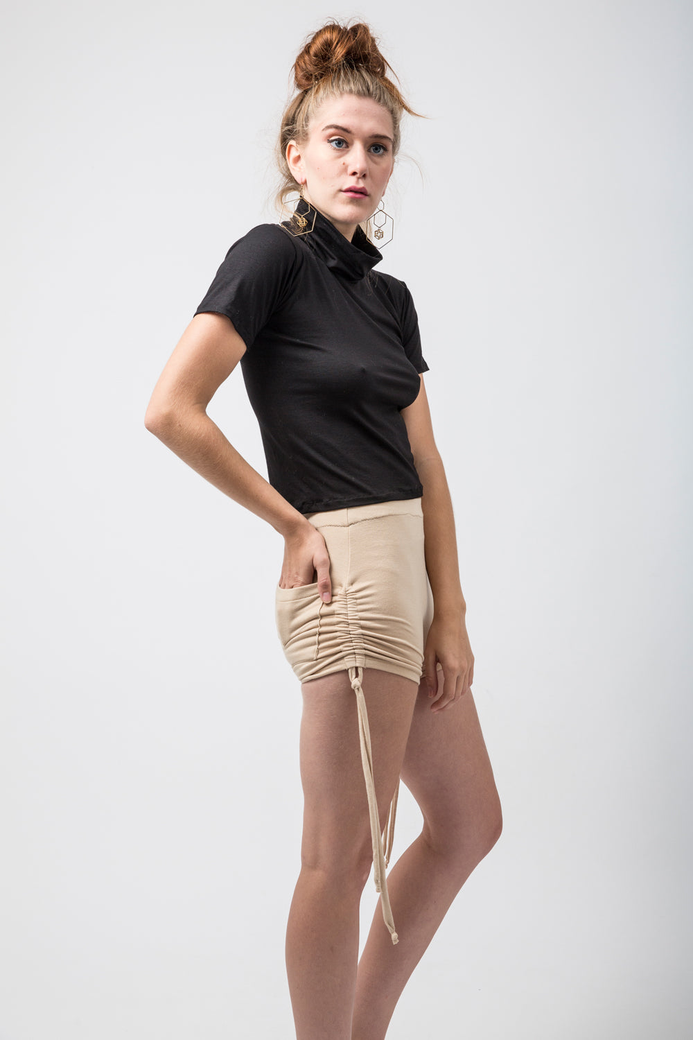 Nude Lycra High Waisted Shorts