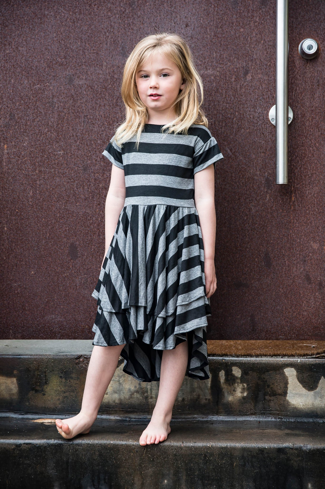girls-ruffled-stripe-dress-black-grey-made-usa-jersey-kids-kucoon