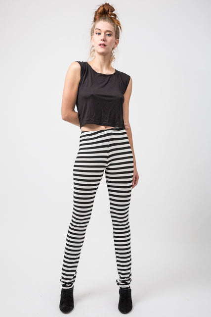 Horizontal Black and White Stripe Leggings
