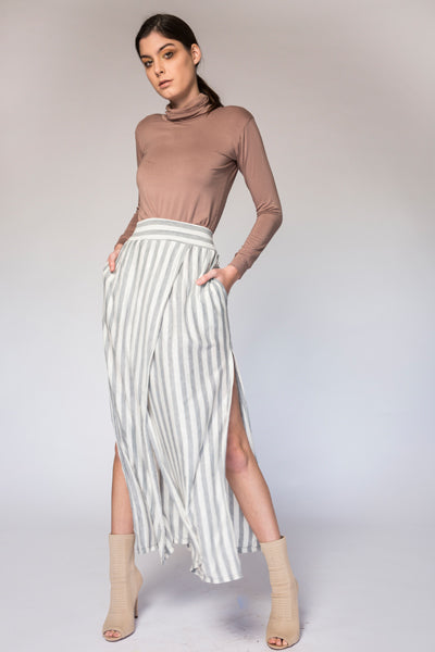 Ash Skirt [KUCOON] high waisted long stripe summer skirt with pockets