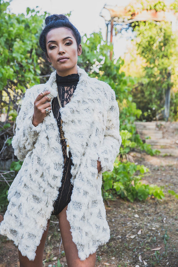 [KUCOON] white printed pyramid faux fur long jacket with pockets. Made in Los Angeles