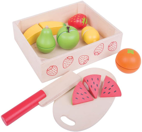 Bigjigs  Crate of Wooden Cutting   Fruit The Bubble Room Toy store Skerries Dublin