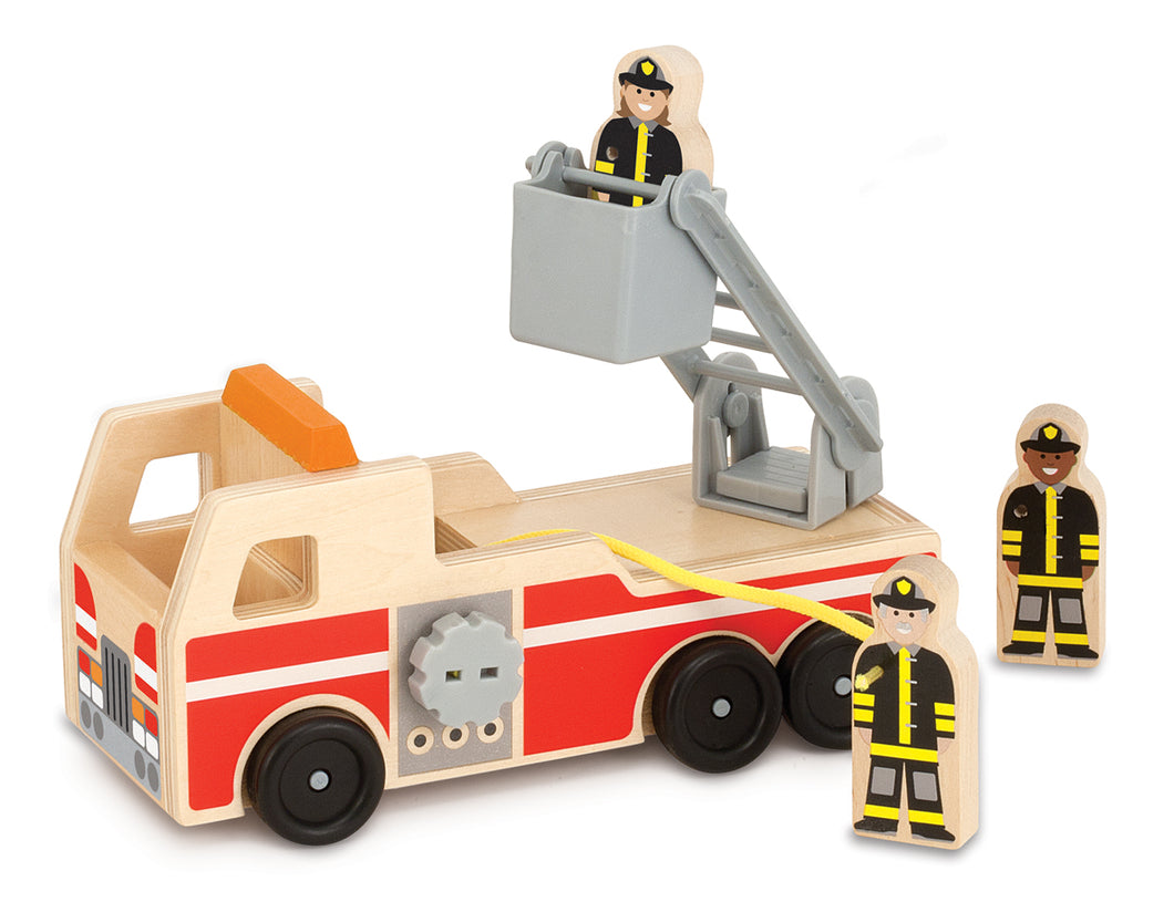 Melissa & Doug Wooden Fire Truck Play Set