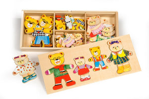 Bigjigs Toys The Bear Family Dress Up Puzzle With Storage Box The Bubble Room Toy Store Dublin