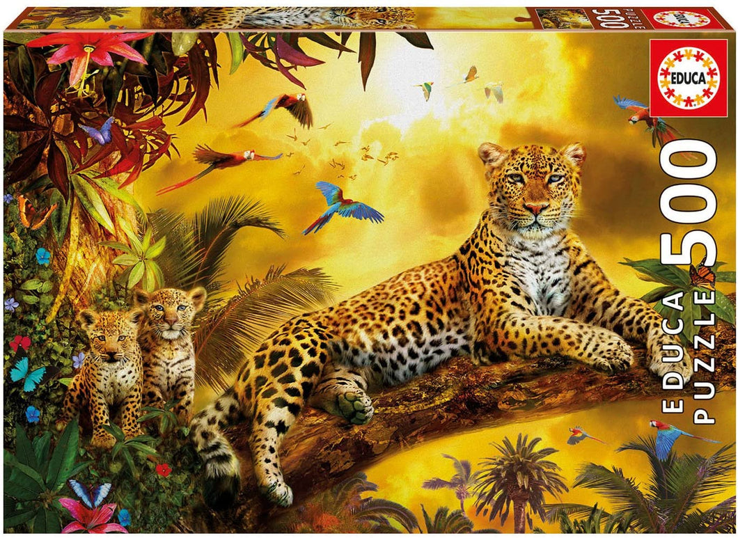 Educa  Leopard with Cubs  500 Piece Puzzle, The Bubble Room Toy Store Skerries Dublin