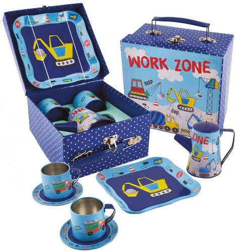 Floss & Rock 7 Piece Construction Tin Tea Set The Bubble Room Toy Store Skerries