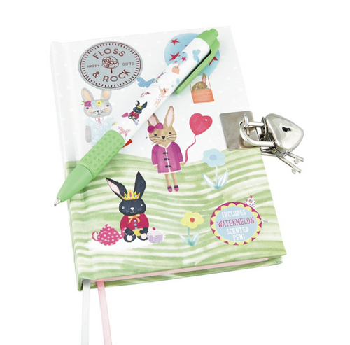 Floss & Rock Lockable Rabbit Diary with Scented Pen The Bubble Room Toy Store Skerries Dublin