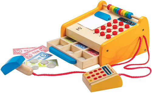 Hape Wooden Checkout Register  With Cash, Barcode Scanner and Card Machine The Bubble Room Skerries