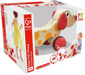 Hape  Pepe Dog Pull Along The Bubble Room Toy Store Dublin