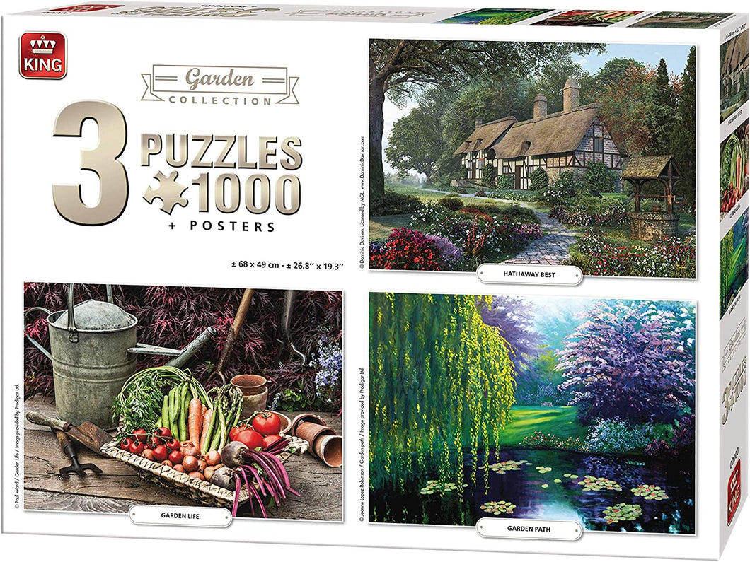King 3 in 1 Garden Collection Jigsaw Puzzles - 3 x 1000 Pieces & Posters Included