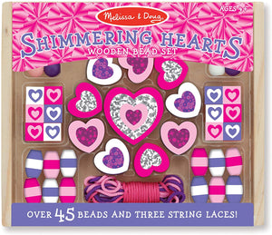 Melissa & Doug  Shimmering Hearts Wooden Bead Set The Bubble Room Toy Store Dublin