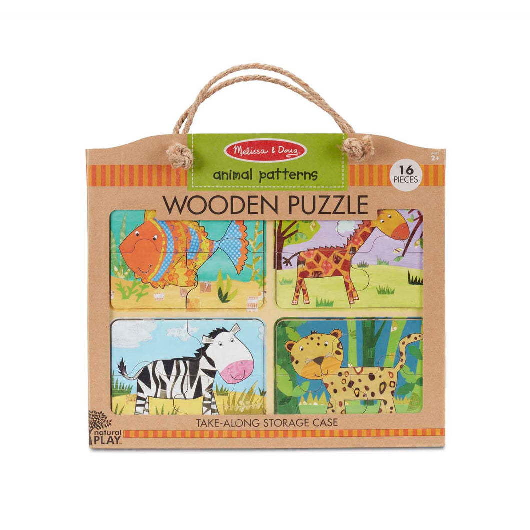Melissa & Doug Natural Play Wooden Puzzle Animal Patterns The Bubble Room Toy Store Dublin