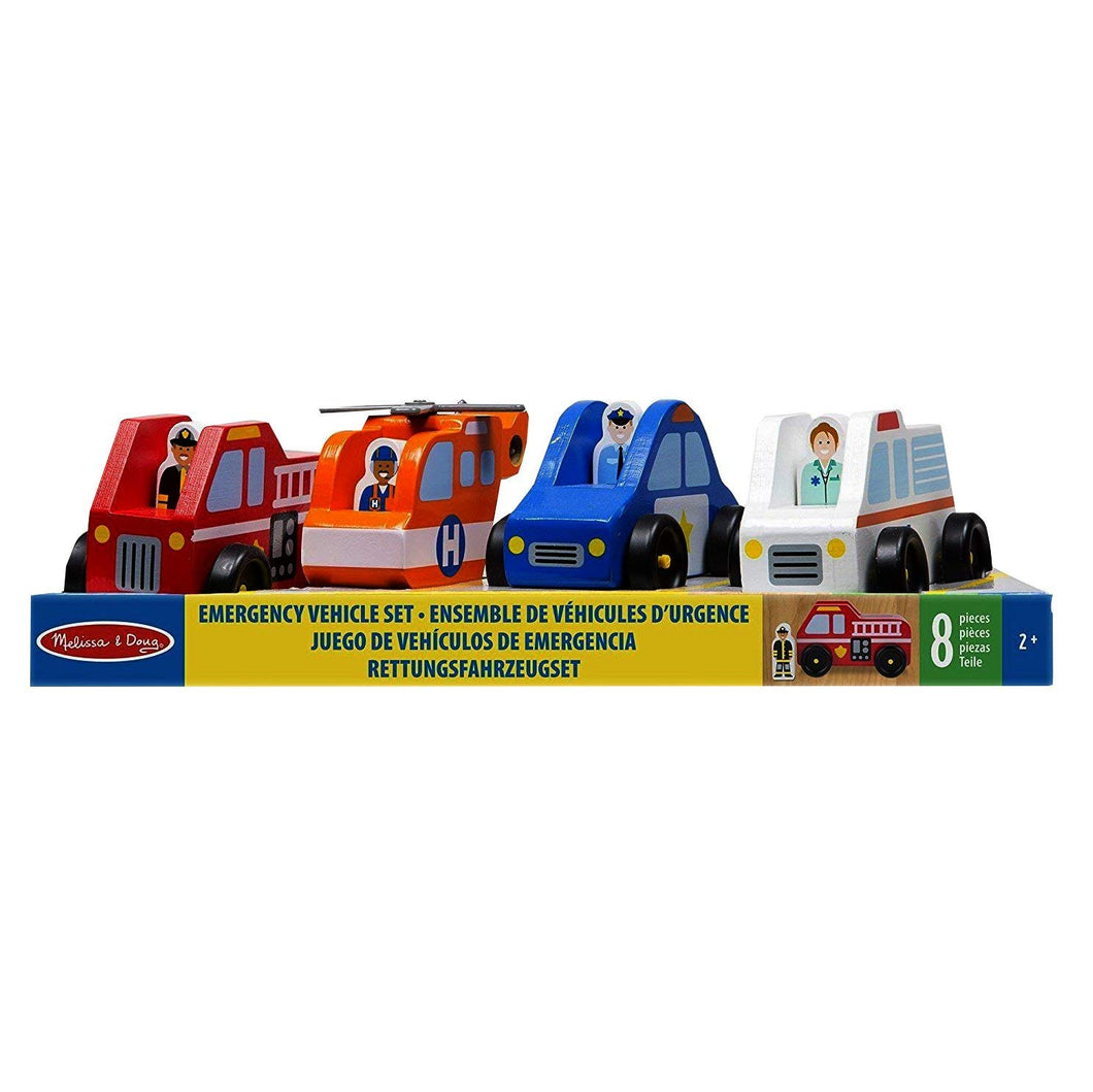 Melissa & Doug Emergency Vehicle Wooden Play Set With 4 Vehicles, 4 Play Figures The Bubble Room Toy store Dublin