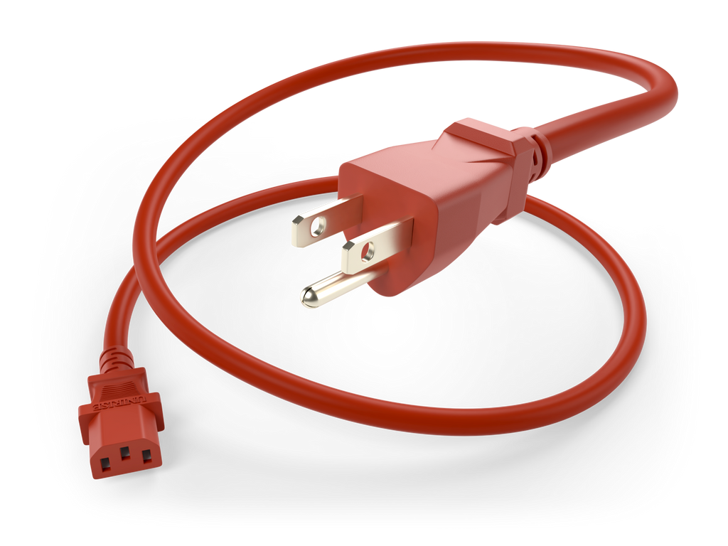 NEMA 5-15P to IEC 60320 C13 Power Cord 10A/125V 18AWG