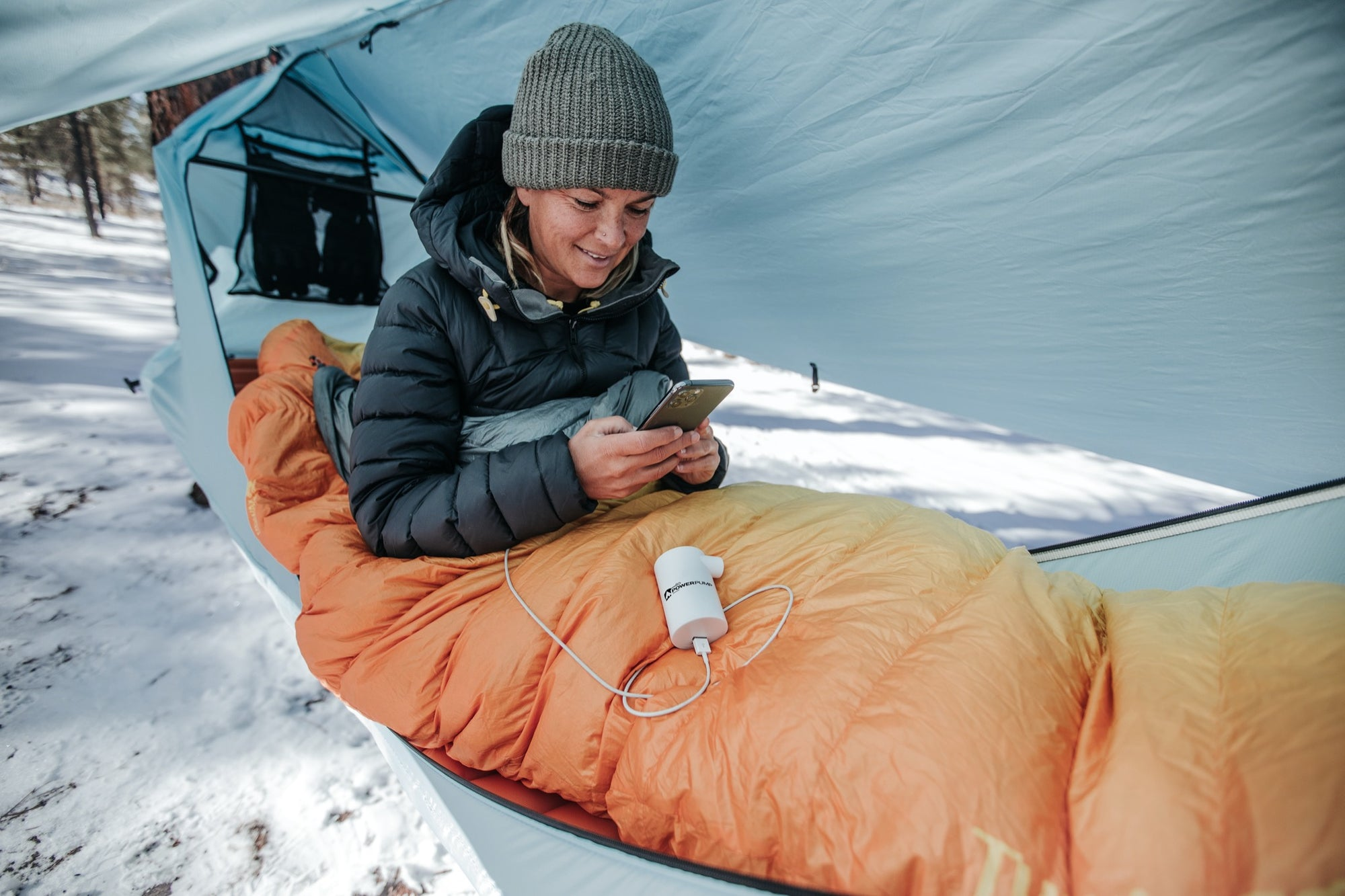Haven Tent hammock winter camp with PowerPump