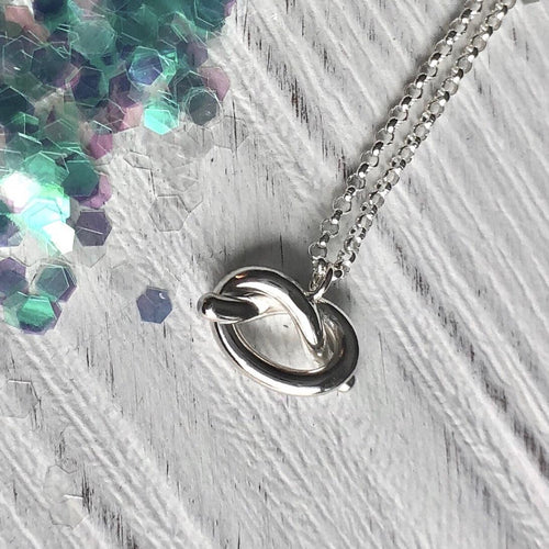 Chunky Silver Love Knot Pendant with Sterling Chain