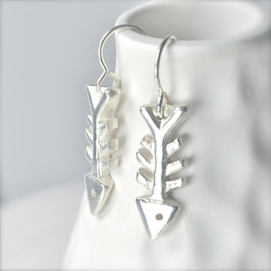 LAST PAIR Sterling Silver Fish Bone Earrings