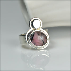 ONLY ONE Rhodochrosite Silver Statement Ring US Size 5 1/2