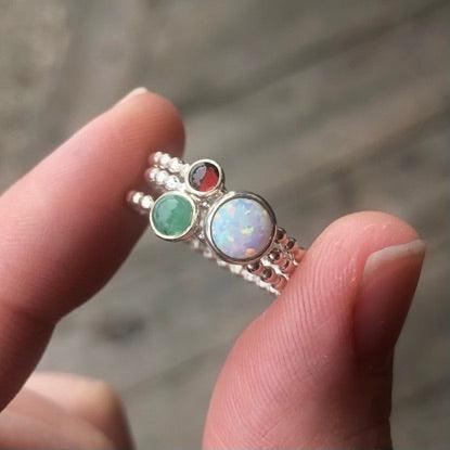 Custom Gemstone Ring • Triple Birthstone Ring