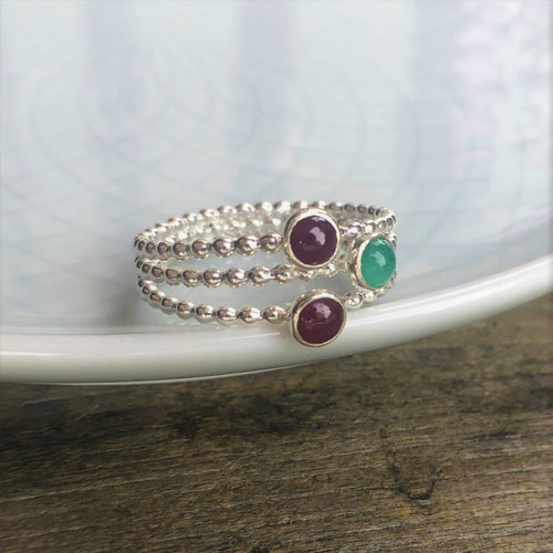Ruby and Emerald Triple Birthstone Ring size 9