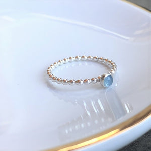 3mm Aquamarine Silver Ring