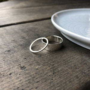5mm and 1mm Matching Couples Wedding Bands