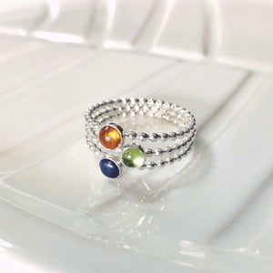 Custom Birthstone Ring • Triple Birthstone Ring