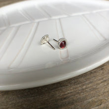 Load image into Gallery viewer, 6mm Sterling Silver with Smaller Eyelash detail Garnet Stud Earrings
