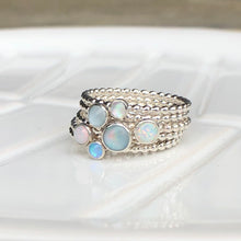 Load image into Gallery viewer, 3mm Blue Manmade Simulated Opal Stacking Ring