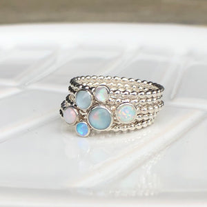 3mm Blue Manmade Simulated Opal Stacking Ring