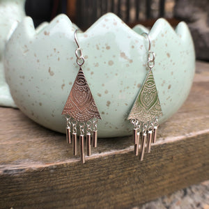 ONLY ONE PAIR of Silver Tassel Dangle Earrings