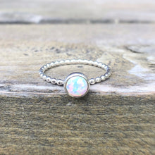 Load image into Gallery viewer, 6mm Manmade Simulated Opal Birthstone Silver Ring