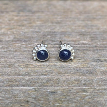 Load image into Gallery viewer, 4mm Eyelash Sapphire Stud Earrings
