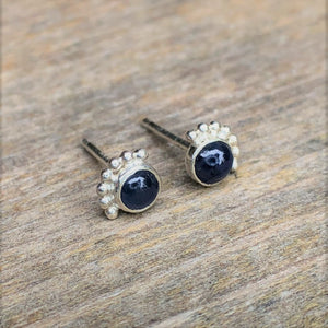 4mm Eyelash Sapphire Stud Earrings