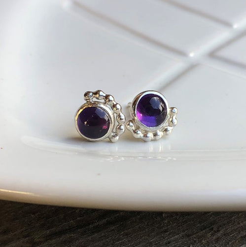 6mm Eyelash Amethyst Studs