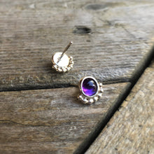 Load image into Gallery viewer, 6mm Eyelash Amethyst Studs