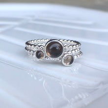 Load image into Gallery viewer, 4mm Smoky Quartz Silver Ring