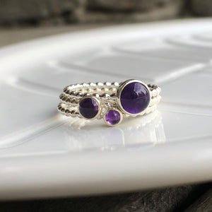 3mm Amethyst Silver Ring