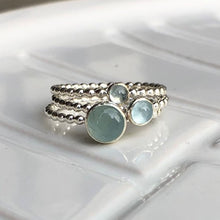 Load image into Gallery viewer, 3mm Aquamarine Silver Ring