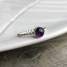 Load image into Gallery viewer, 6mm Amethyst Silver Ring