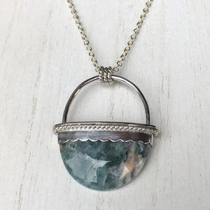 Silver Oval Moss Agate Statement Pendant
