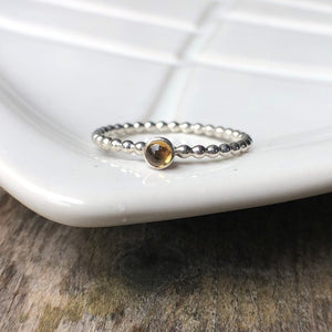 3mm Citrine Silver Ring