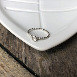 4mm Crystal Quartz Silver Ring
