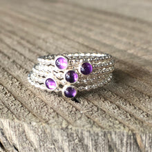 Load image into Gallery viewer, 3mm Amethyst Silver Ring