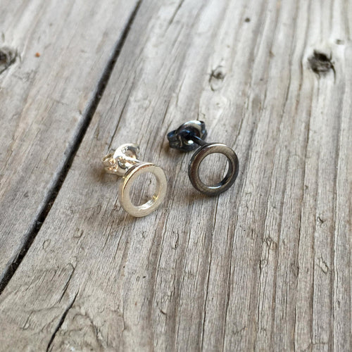 Black and Silver Flat Open Circle Studs