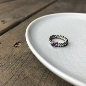 amethyst ring stack
